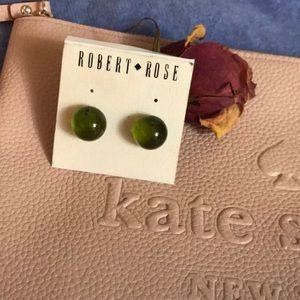 NWT Robert Rose Glass Orb Marble Earrings Green